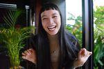 長い黒髪が美しい萬波は、テンポの良いトークでモデル以外の才能も発揮=東京・芝公園 (撮影・戸加里真司)